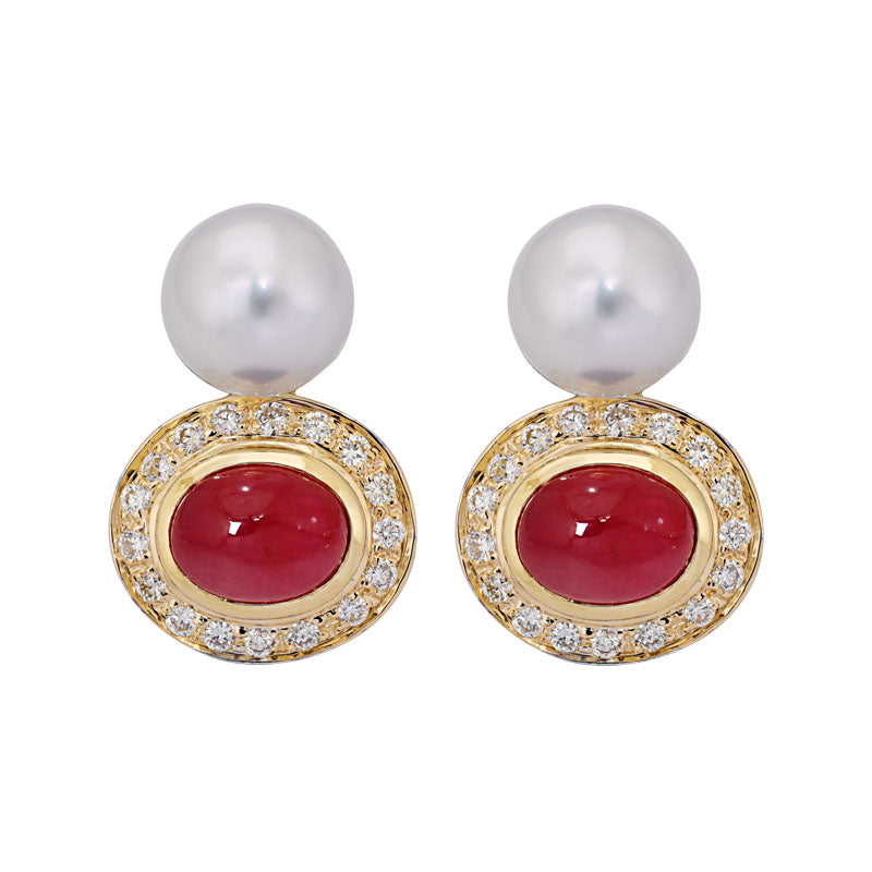 Earrings- Ruby, South Sea Pearl and Diamond