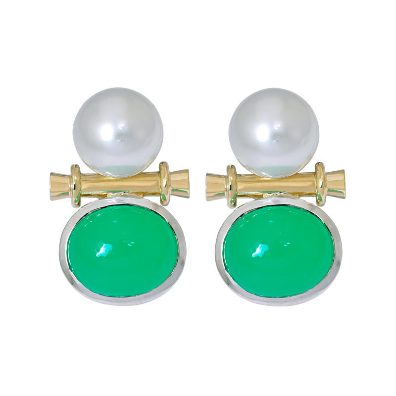 Earrings- Chrysoprase and South Sea Pearl