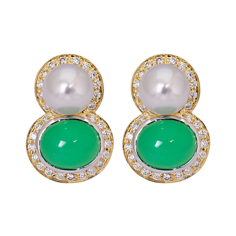 Earrings- Chrysoprase, South Sea Pearl and Diamond