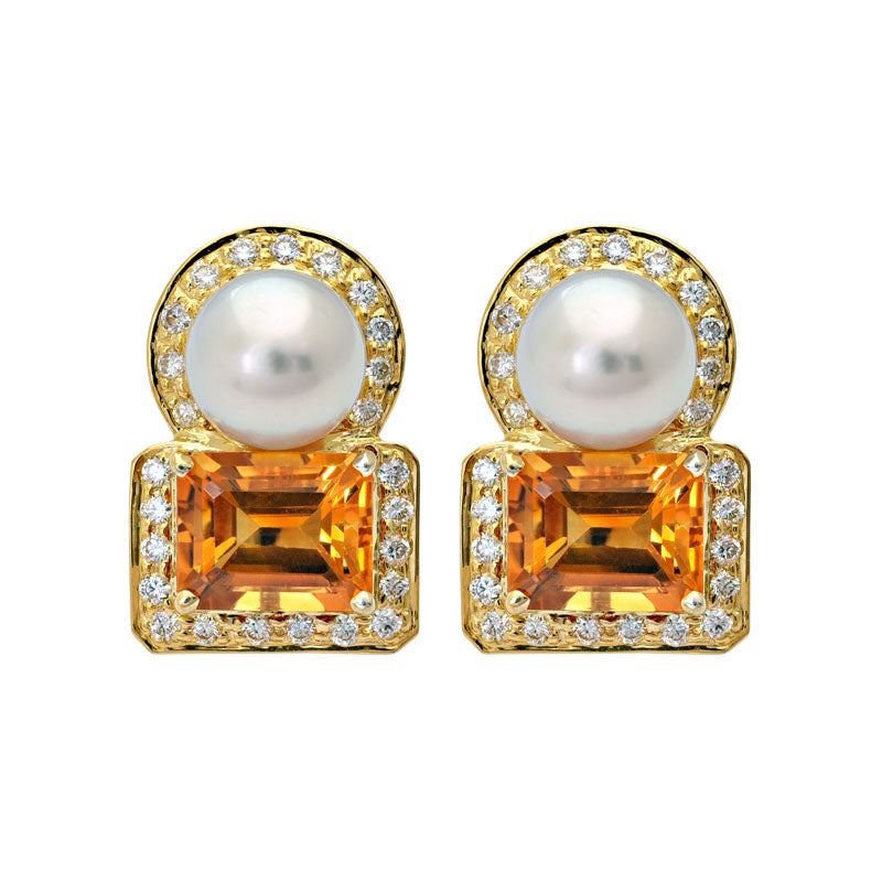 Earrings- Citrine, South Sea Pearl and Diamond