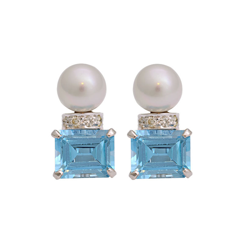 Earrings-Blue Topaz, South Sea Pearl and Diamond