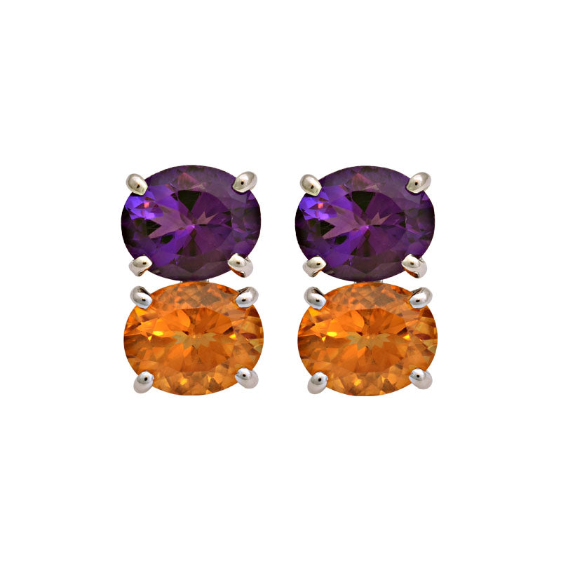 Earrings-Citrine and Amethyst