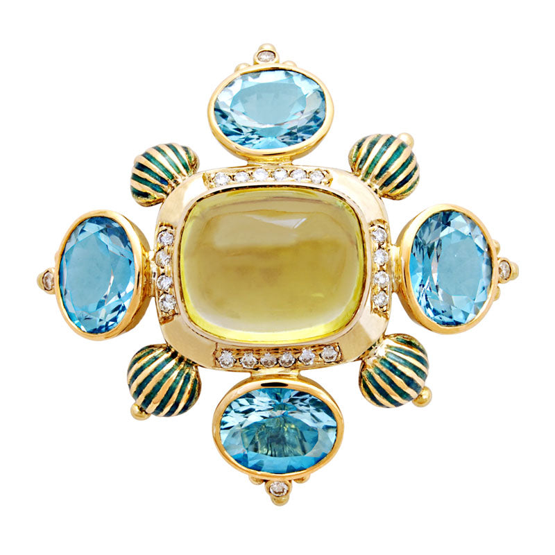 Brooch-Lemon Quartz, Blue Topaz and Diamond(Enamel)