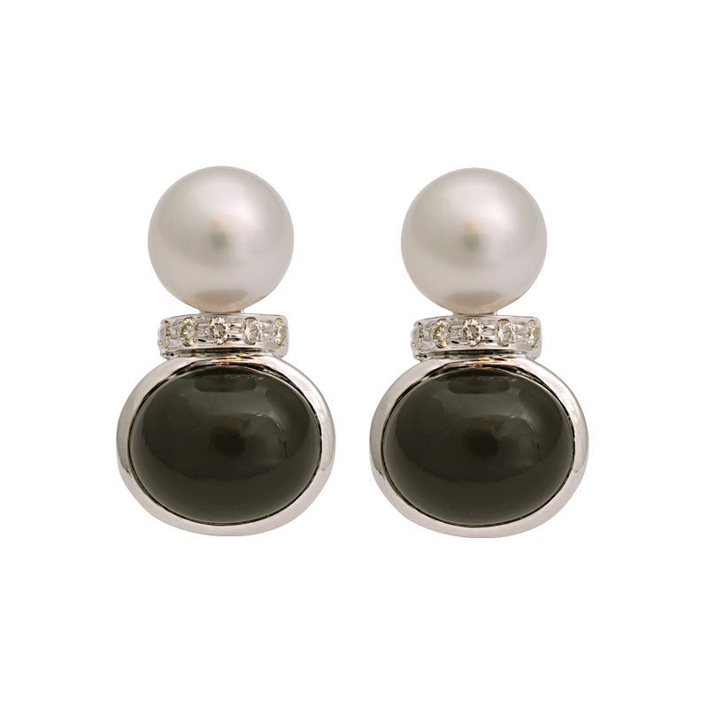 Earrings-Black Onyx, South Sea Pearl and Diamond