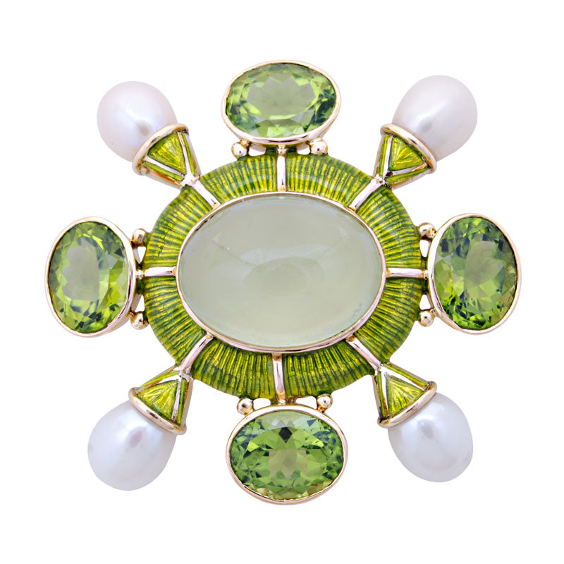 Brooch-Prehnite, Peridot and Pearl (Enamel)