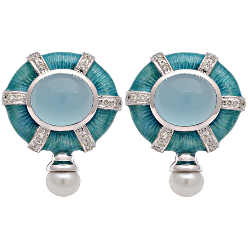 Earrings-Chalcedony, Fresh Water Pearl and Diamond (Enamel)