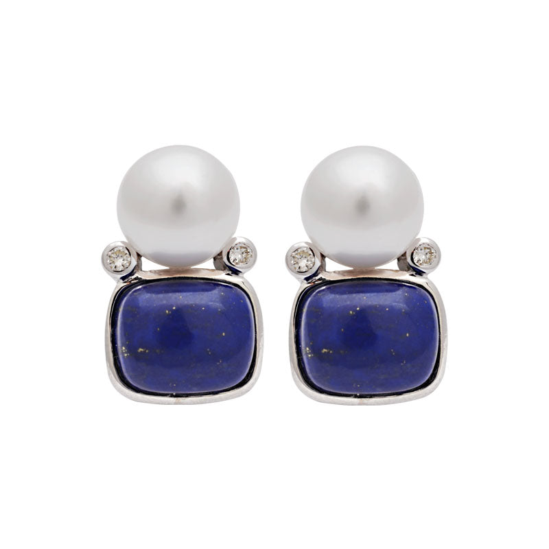 Earrings-Lapis Lazuli, South Sea Pearl and Diamond