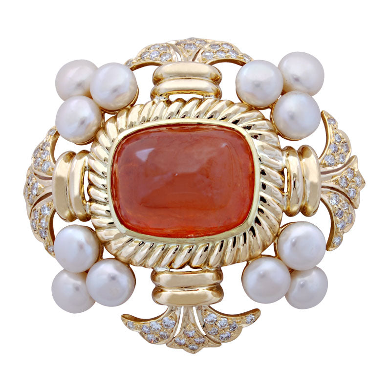 Brooch-Cornelian, Pearl and Diamond