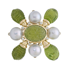 Brooch- Peridot, South Sea Pearl and Diamond