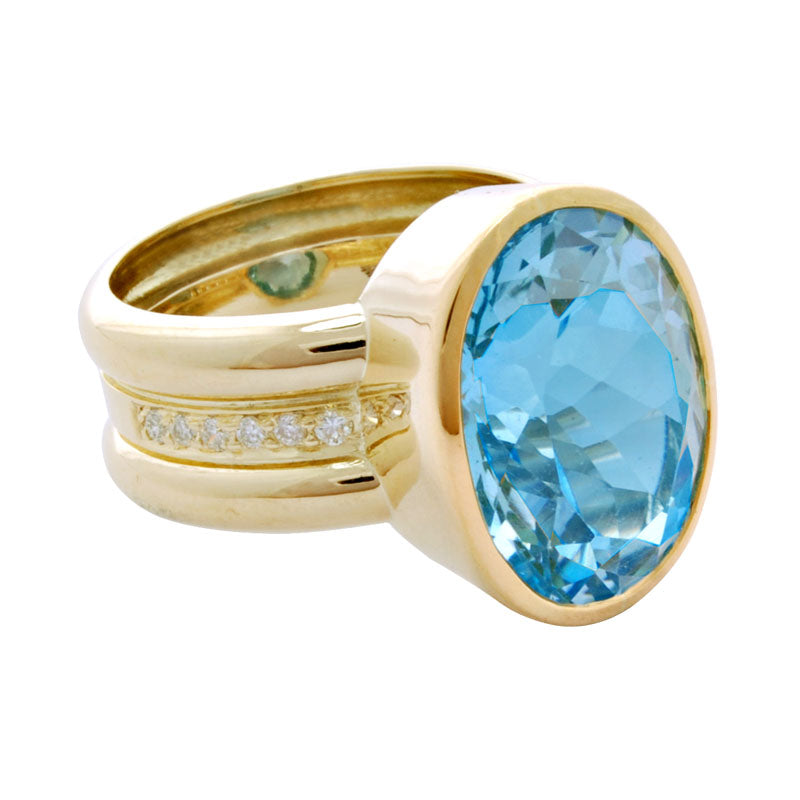 Ring-Blue Topaz and Diamond