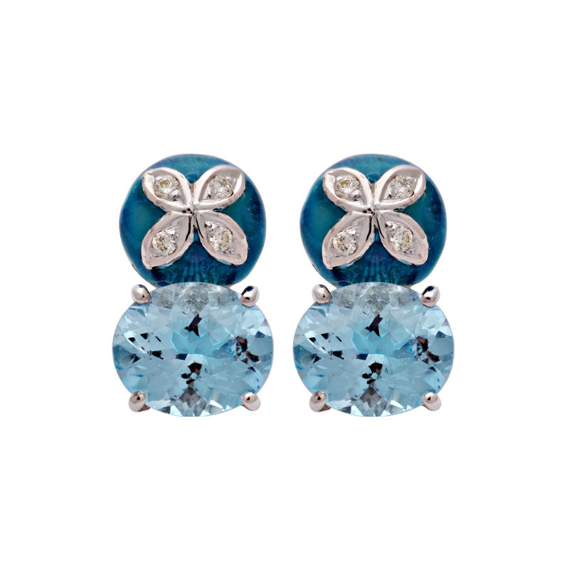Earrings-Blue Topaz and Diamond (Enamel)