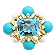 Brooch-Blue Topaz, Turquoise (Synthetic), Pearl and Diamond