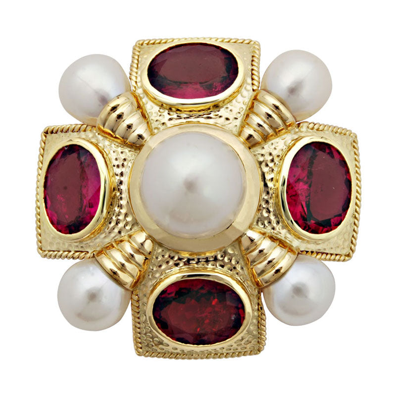 Brooch-Rubellite and Pearl