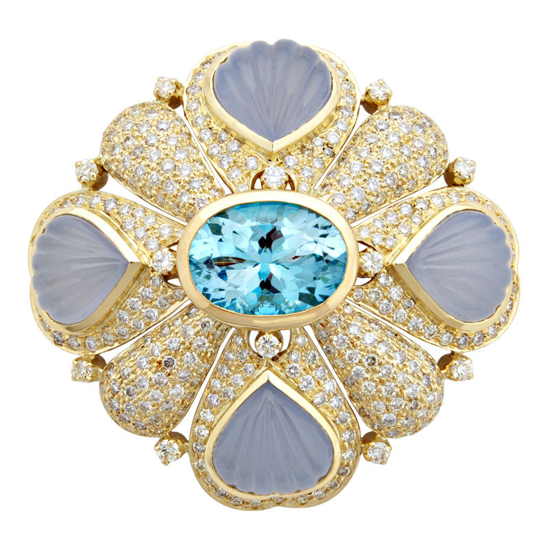 Brooch-Blue Topaz, Chalcedony and Diamond