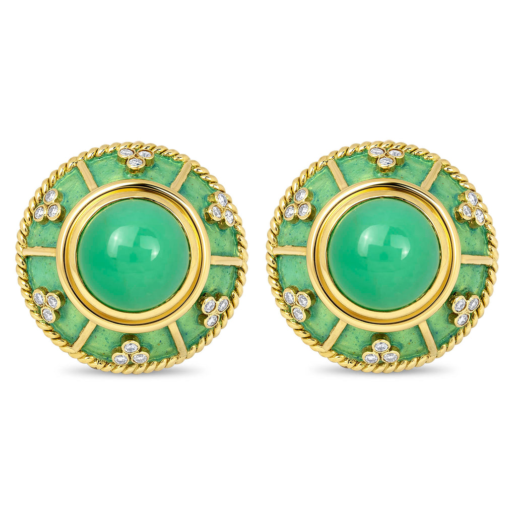 Earrings - Chrysoprase and Diamond (Enamel)