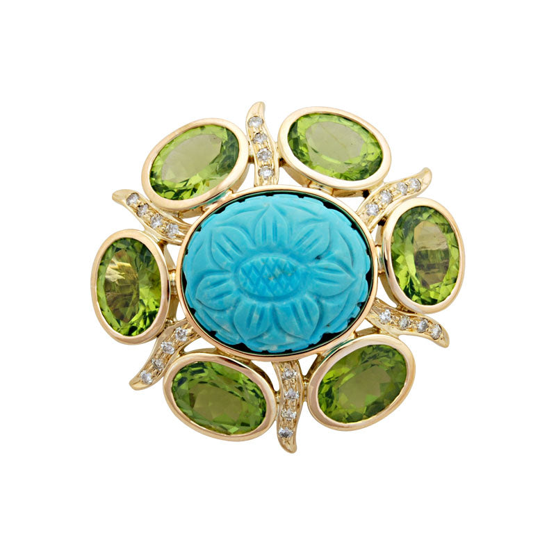 Brooch-Turquoise, Peridot and Diamond