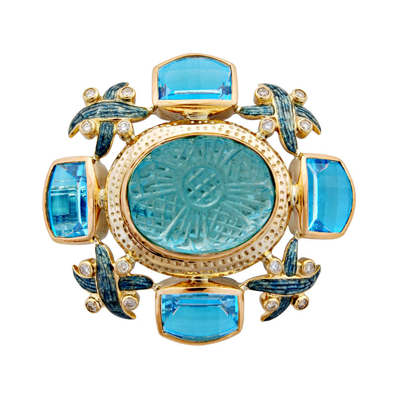 Brooch-Aquamarine, Blue Topaz and Diamond (Enamel)