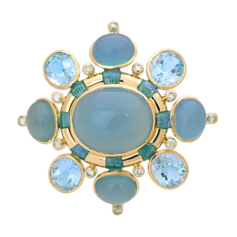 Brooch- Chalcedony, Blue Topaz and Diamond (Enamel)