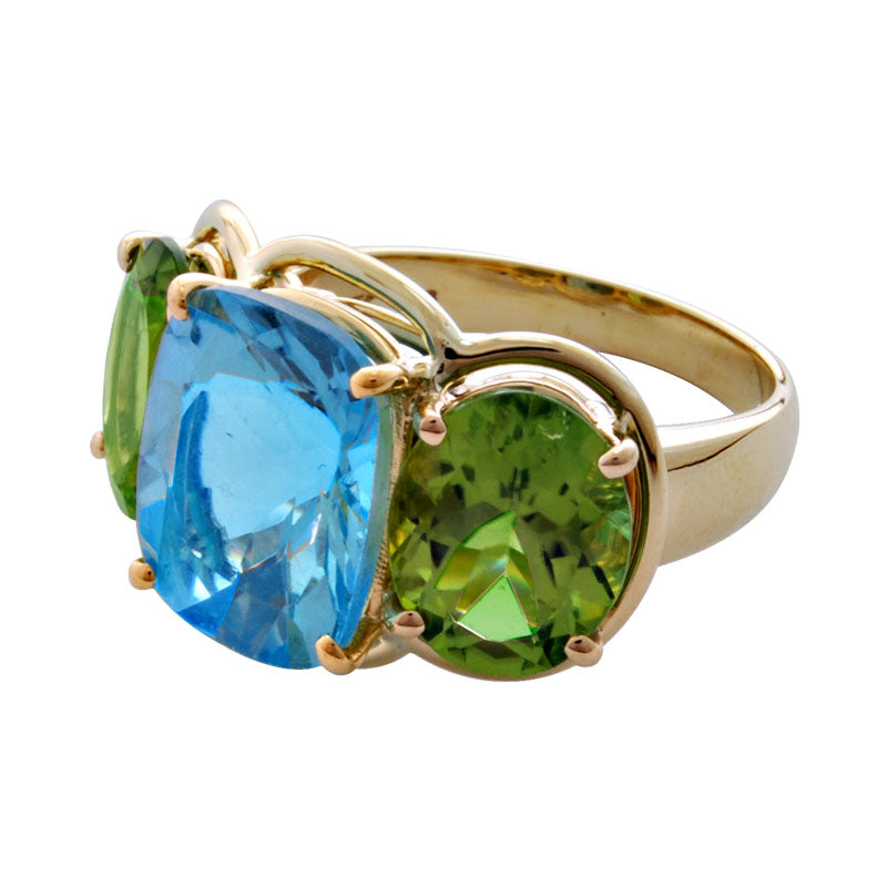 Ring-Blue Topaz and Peridot