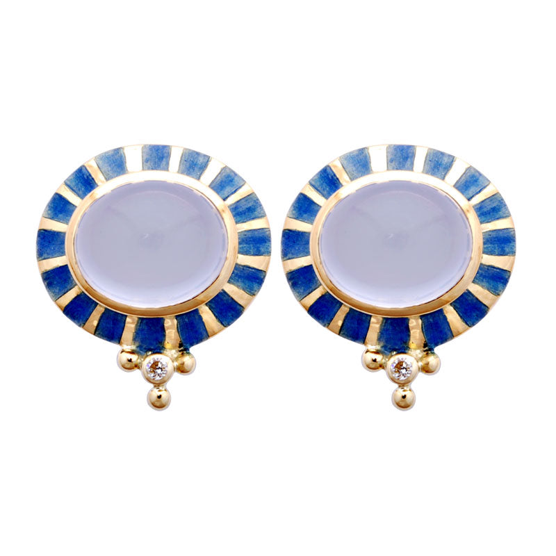 Earrings-Chalcedony, and Diamond (Enamel)