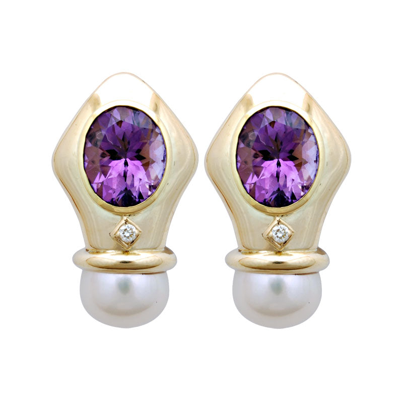 Earrings-Amethyst, Pearl and Diamond