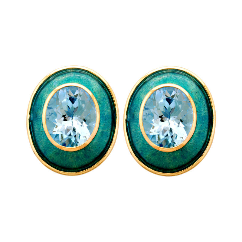 Earrings-Blue Topaz (Enamel)