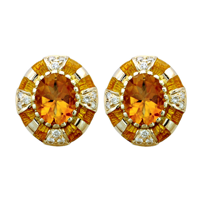 Earrings-Citrine and Diamond (Enamel)