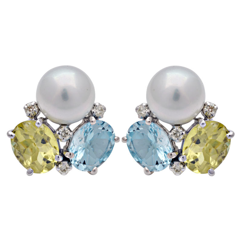 Earrings -Lemon Quartz, Blue Topaz, South Sea Pearl and Diamond