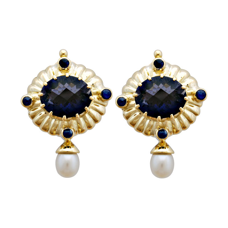 Earrings-Iolite, Blue Sapphire and Pearl