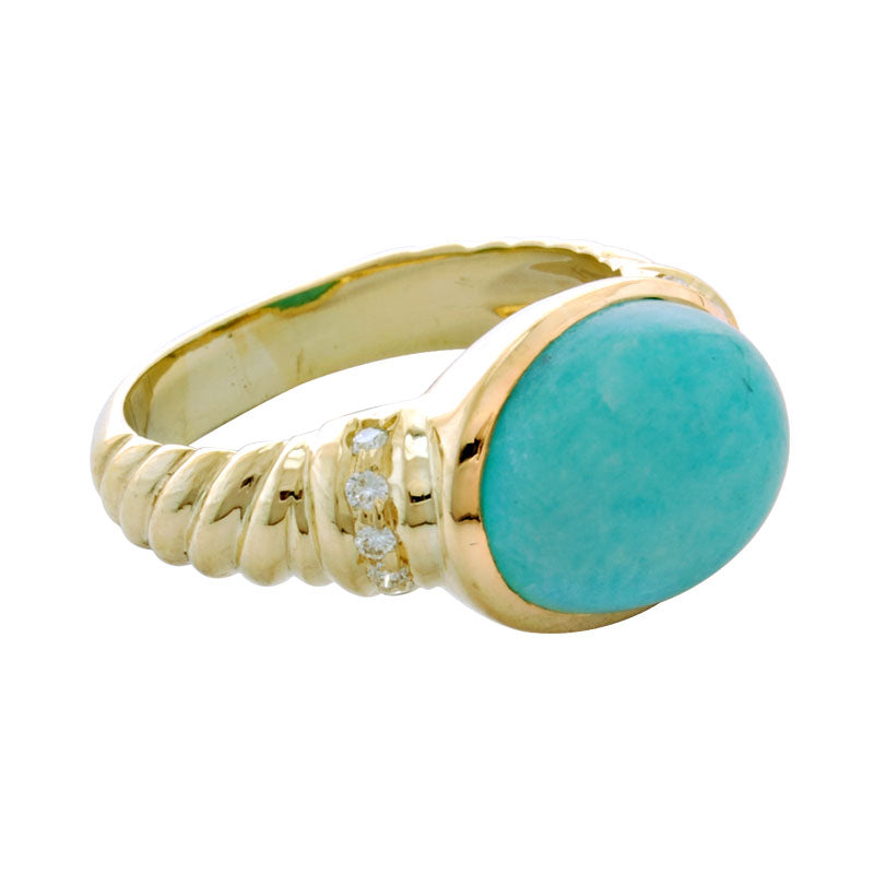 Ring-Amazonite and Diamond