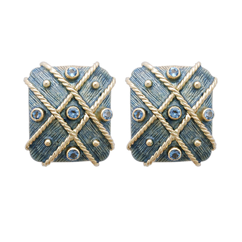 Earrings-Aquamarine (Enamel)