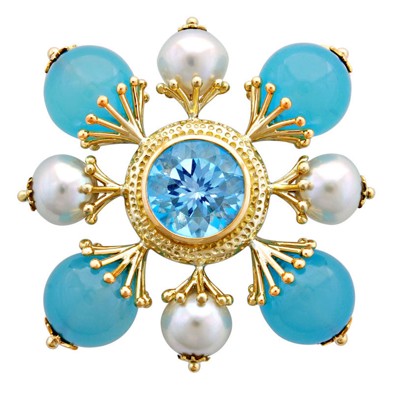 Brooch-Blue Topaz, Chalcedony and Pearl