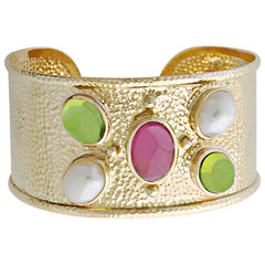 Bangle-Rubellite, Peridot and Pearl