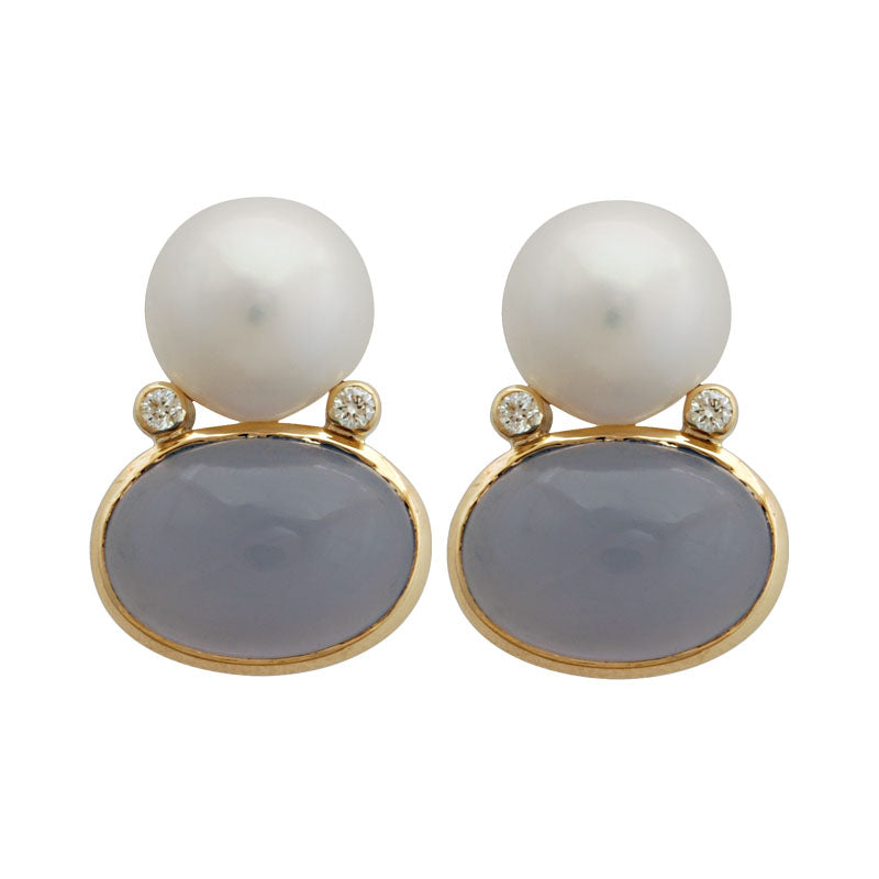 Earrings-Chalcedony, Pearl and Diamond