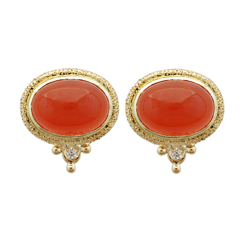 Earrings-Cornelian and Diamond