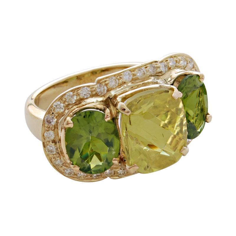 Ring-Lemon Quartz, Peridot and Diamond