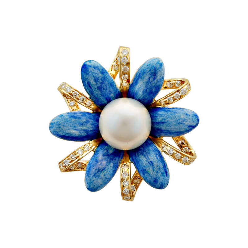 Brooch-Pearl and Diamond (Enamel)