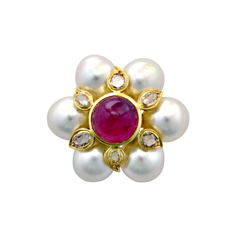 Brooch-Rubellite, Pearl and Diamond