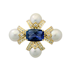 Brooch-Iolite, Pearl and Diamond