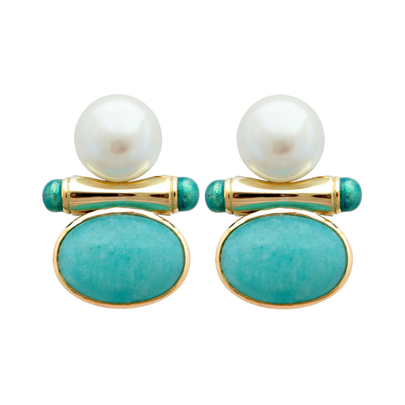 Earrings-Amazonite and Pearl (Enamel)