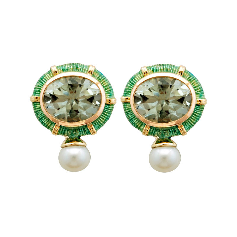 Earrings-Green Quartz and Pearl (Enamel)