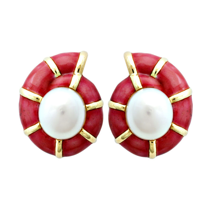 Earrings-Pearl (Enamel)