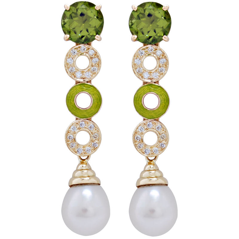 Earrings-Peridot, Pearl and Diamond (Enamel)