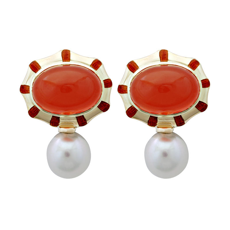 Earrings-Cornelian and Pearl (Enamel)