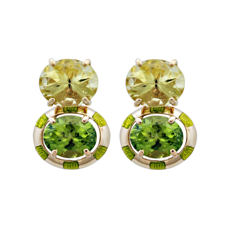 Earrings-Peridot and Lemon Quartz (Enamel)