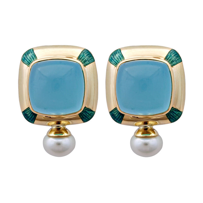 Earrings-Chalcedony and Pearl (Enamel)