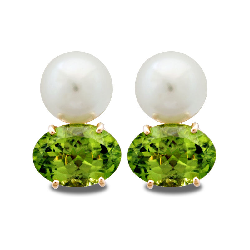 Earrings-Peridot and Pearl