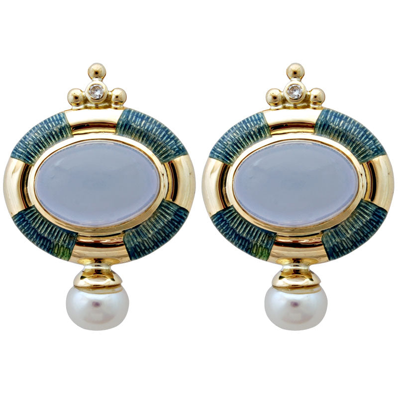 Earrings-Chalcedony, Pearl and Diamond (Enamel)