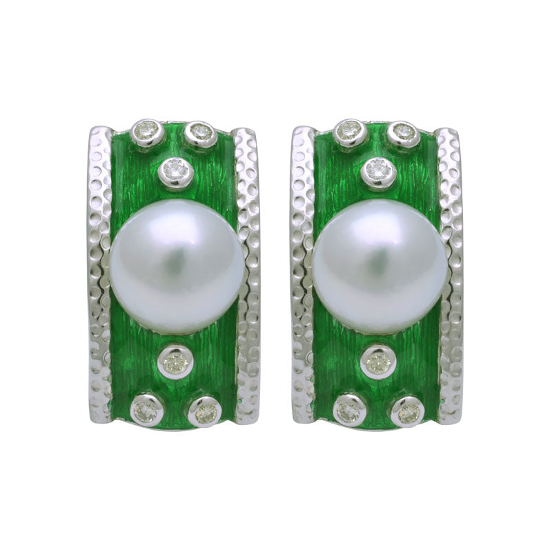 Earrings-South Sea Pearl and Diamond (Enamel)