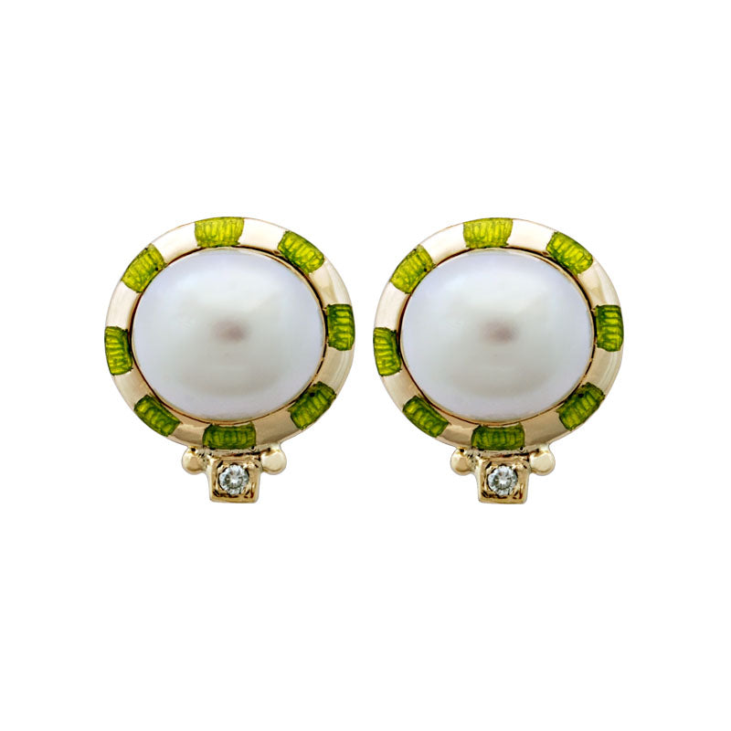 Earrings-Pearl and Diamond (Enamel)